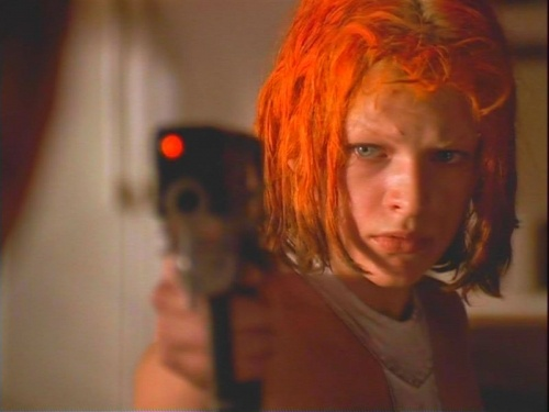 "Fifth Element Frame with Leeloo pointing gun at Dallas and saying ""Ecto Gammat"" meaning ""Never without my permission"""